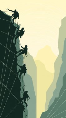 Vertical illustration of alpinists.