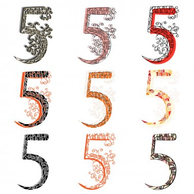Various combination numeric figures 5.