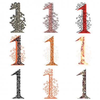 Various combination numeric figures 1.