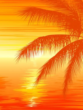 Illustration of sunset in ocean with palm tree.