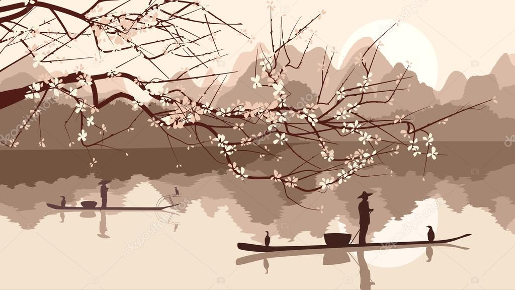 Vector illustration of branch of blossoming tree with fishing bo