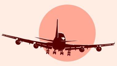 Round logo illustration of flying airplane.