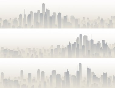 Horizontal banners of big city in haze.