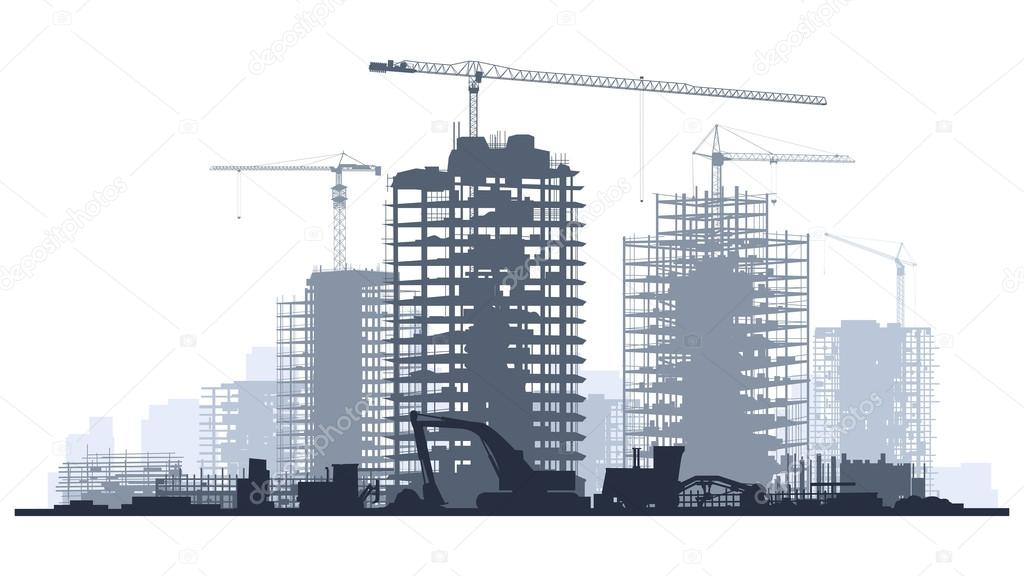 Line of silhouettes illustration of construction site with cranes and skyscraper with tractors, bulldozers, excavators and grader in blue tone. stock vector