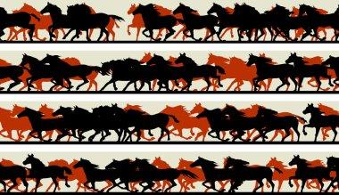 Set of horizontal vector banners prancing galloping horses. stock vector