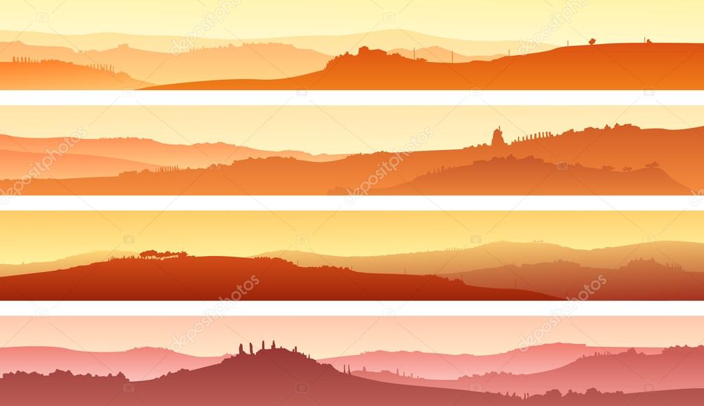 Horizontal banners of landscape of valley with manors at sunset.