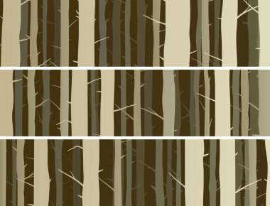 Horizontal banners forest with trunks tree.