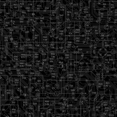 Seamless black background of electrical circuit.