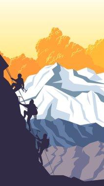 Vertical cartoon illustration of alpinists.