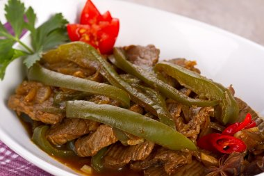 Indonesian food, beef and green paprika with black pepper sauce