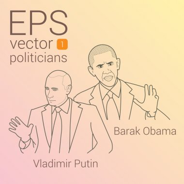Vector portrait of two presidents Barack Obama and Vladimir Putin