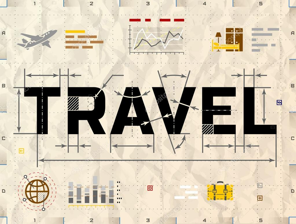 word travel as technical blueprint drawing stock vector kulyk