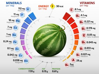 Vitamins and minerals of watermelon fruit