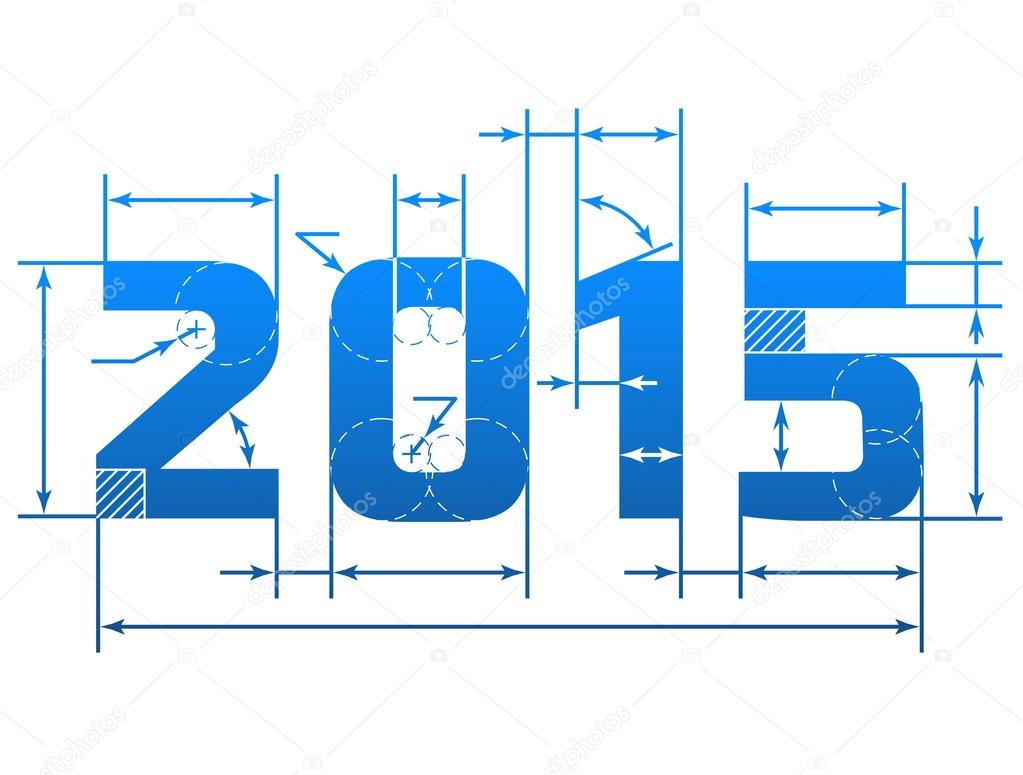 New Year 2015 number with dimension lines