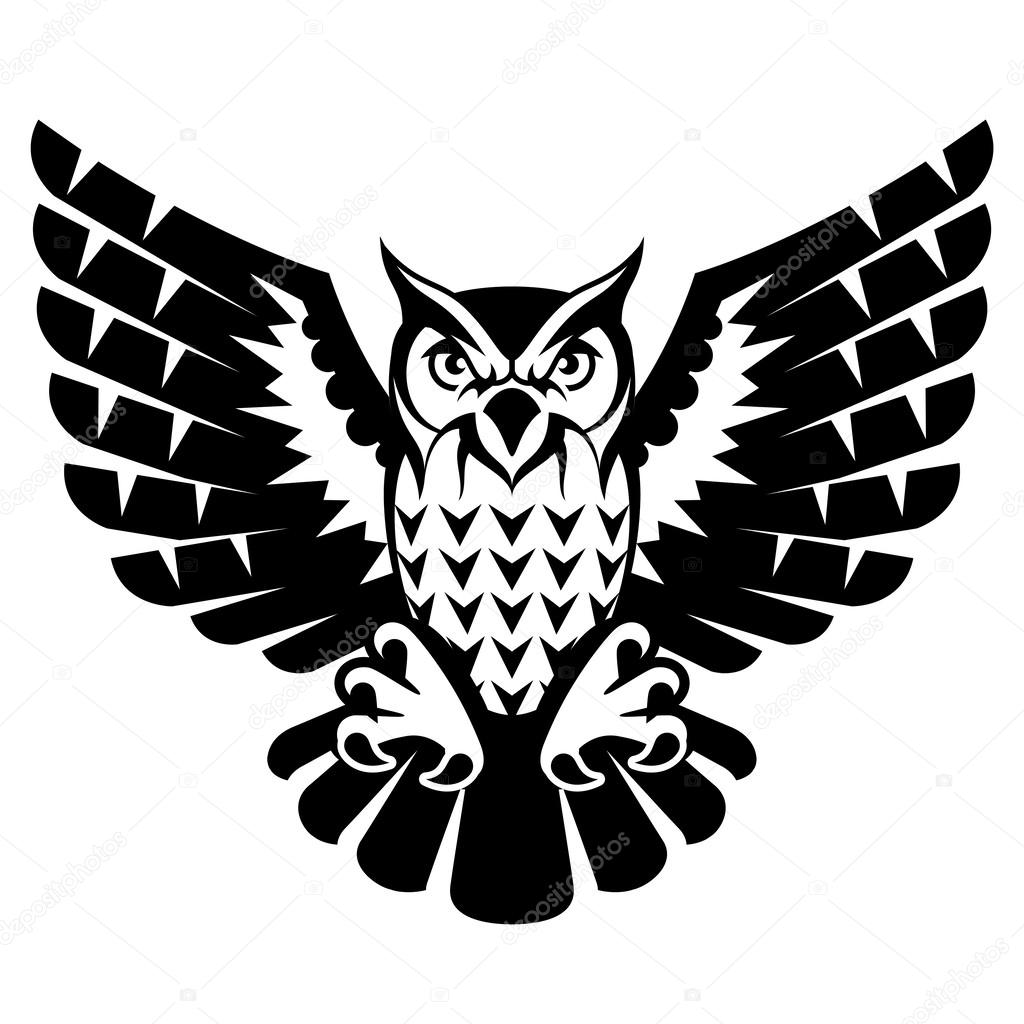 Owl with open wings and claws