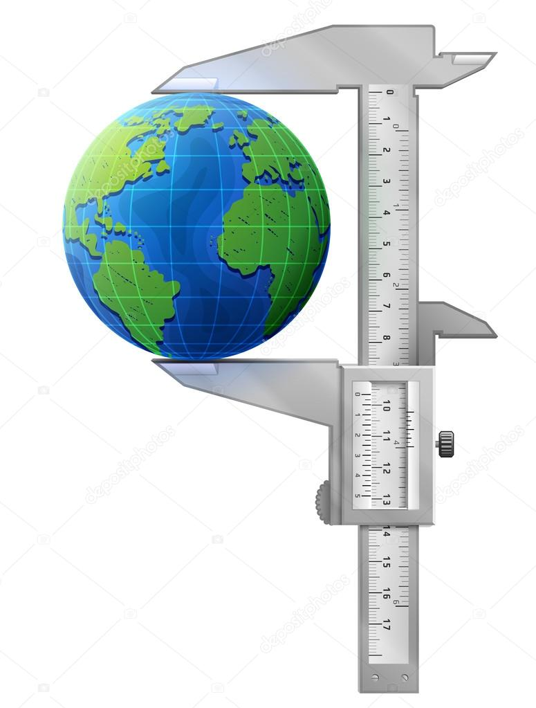 Vertical caliper measures globe
