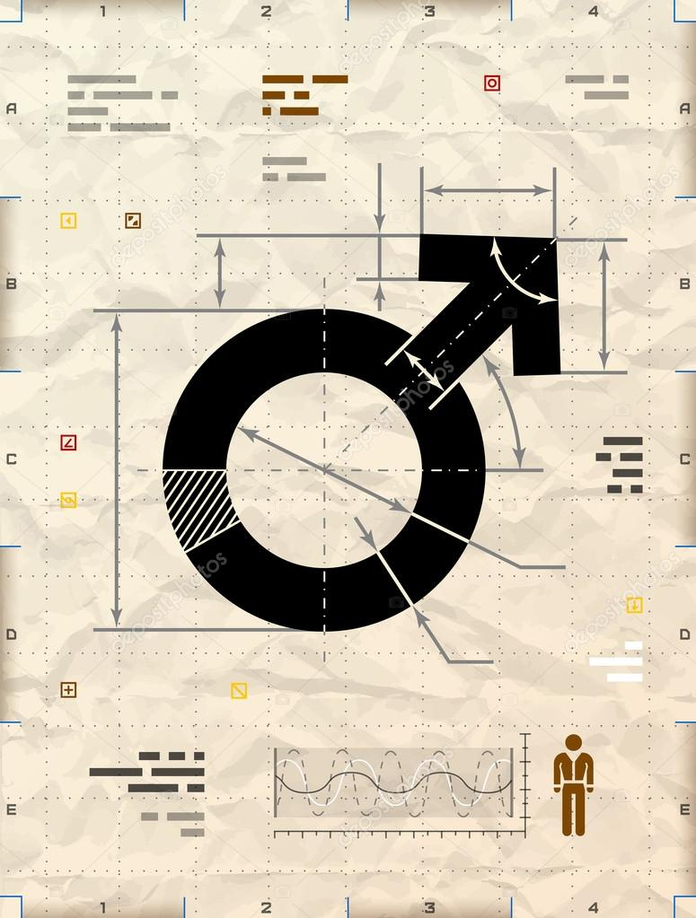 Male symbol as technical blueprint drawing