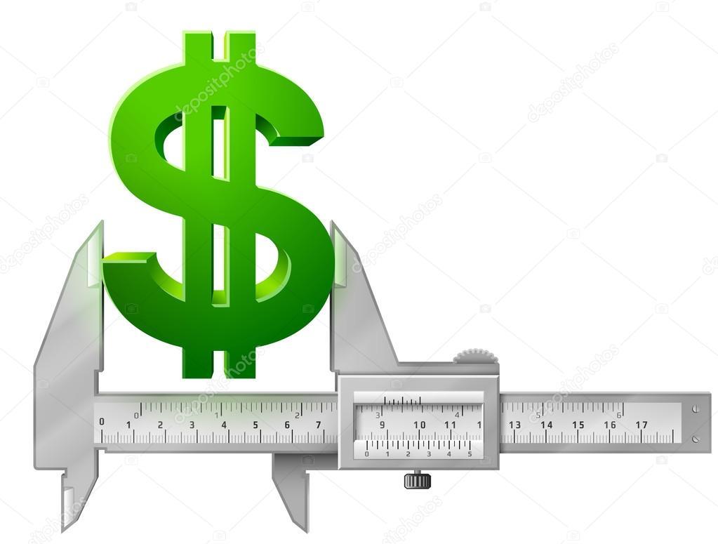 Horizontal Caliper Measures Dollar Symbol Stock Vector Kulyk