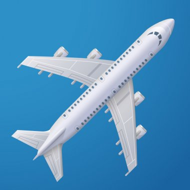 White plane against blue background