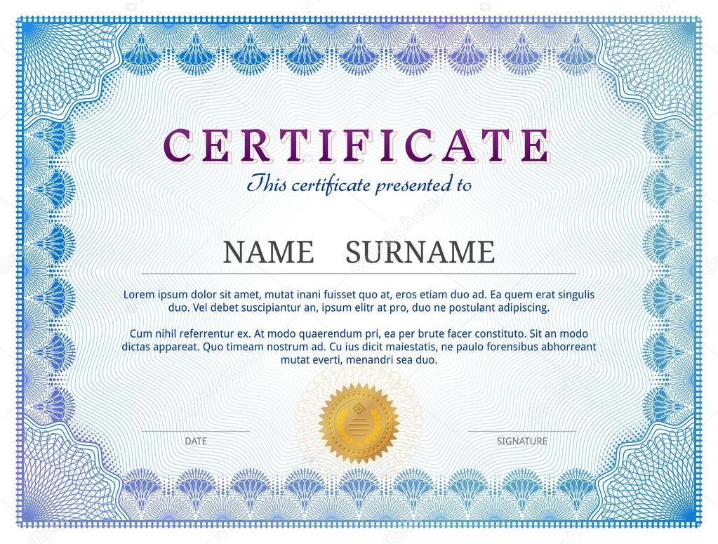 Certificate template with guilloche elements stock vector kulyk qualitative vector layout for award patent validation licence education authentication achievement etc it has transparency blending modes alramifo Gallery
