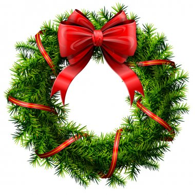 Christmas wreath with red bow and ribbon