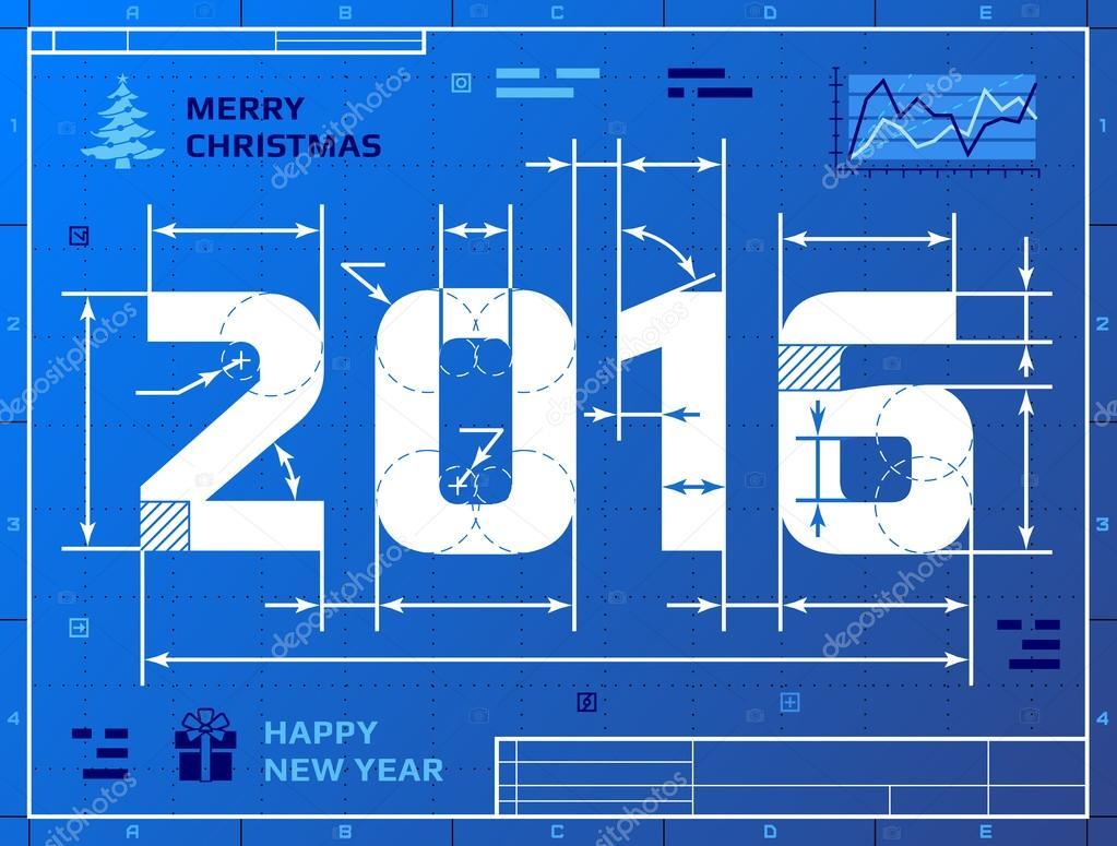 Karte des neue Jahr 2016 als Blaupause Zeichnung — Stockvektor ...