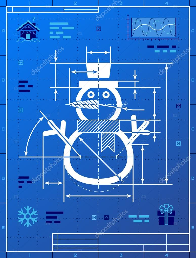 Christmas snowman symbol as blueprint drawing