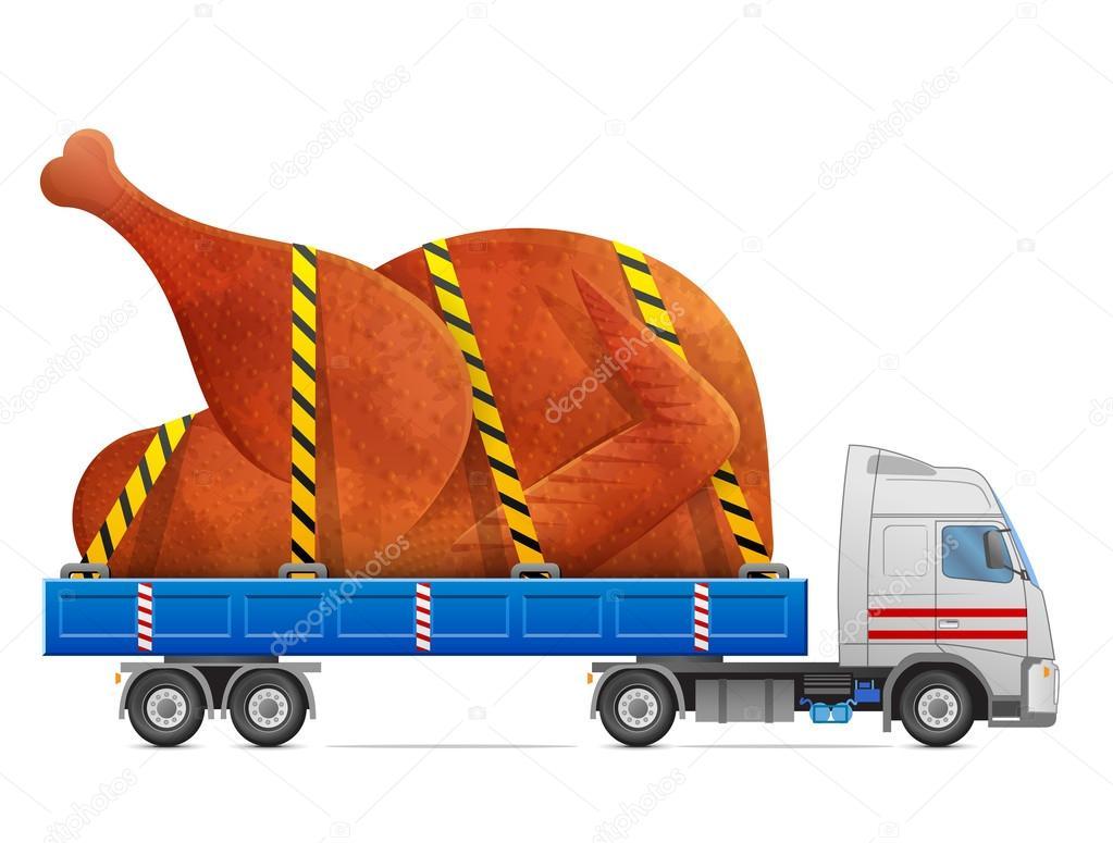 Road transportation of roast turkey, chicken