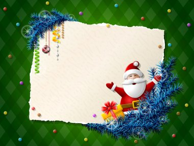 Paper for christmas list with Santa Claus and gift