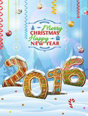 Nový rok 2016 ve tvaru perníky ve sněhu