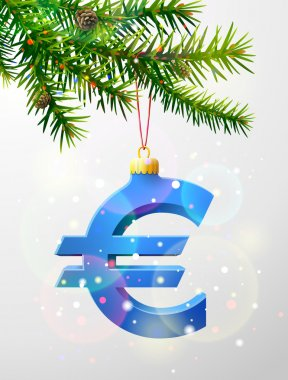 Christmas tree branch with decorative euro symbol