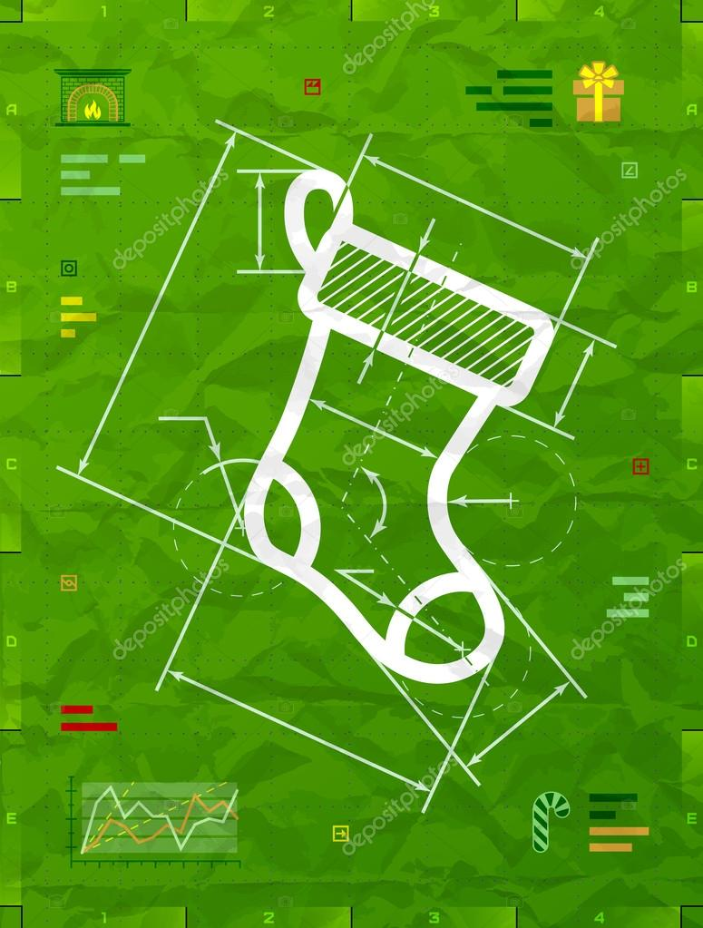 Christmas stocking symbol as technical blueprint drawing