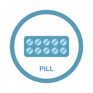 Medical round icon. Blister pack of tablets. icon