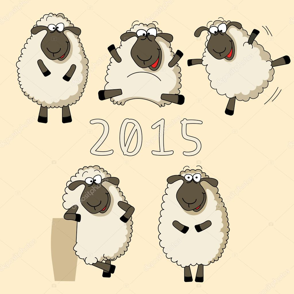 2015 new year vector card with cartoon funny sheep on yellow background vector by himka