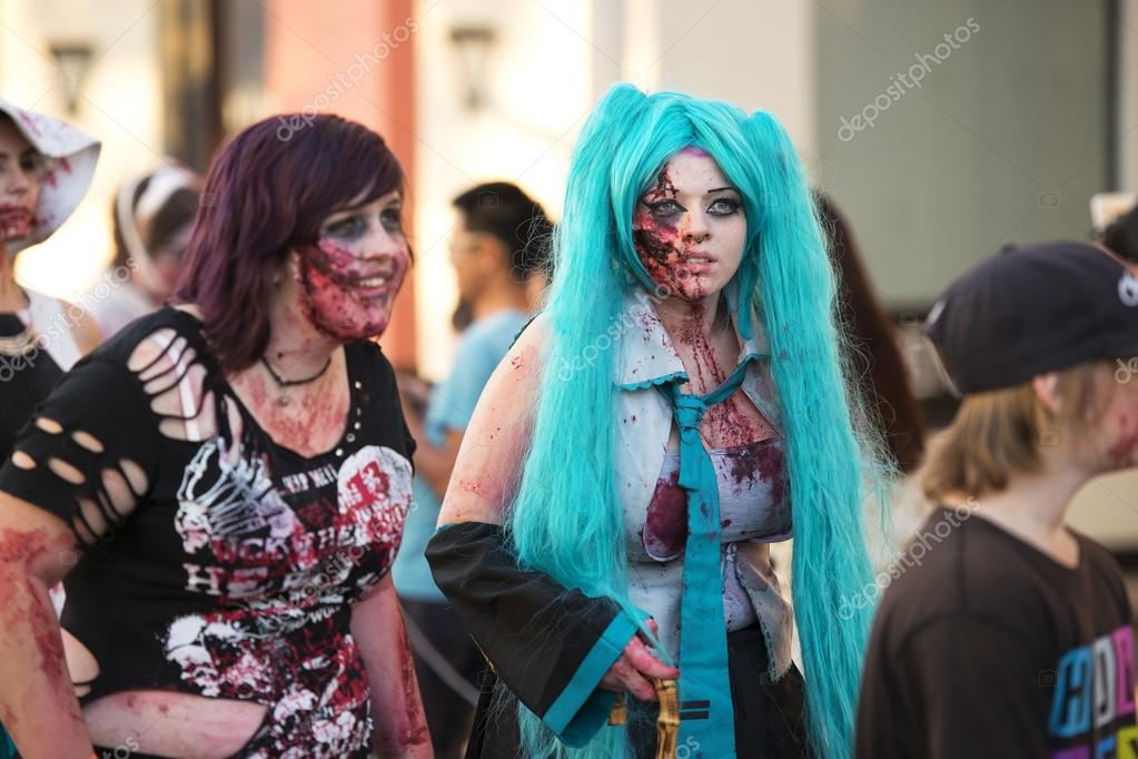 Brisbane, Queensland, Australia - October 5th 2014: Annual brain foundation zombie walk October 5th, 2014 in West end, Brisbane, Australia.