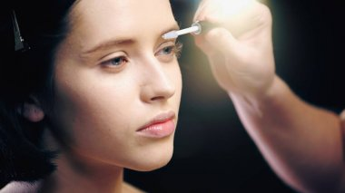 Makeup artist brushing eyebrow of model stock vector