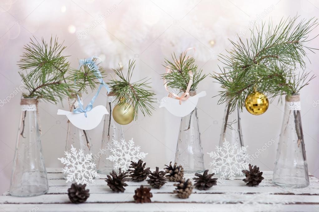 Boże Narodzenie Dekoracje Na Gałęzi Drzewa W Szklane Wazony
