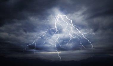 lightning strike on the cloudy sky