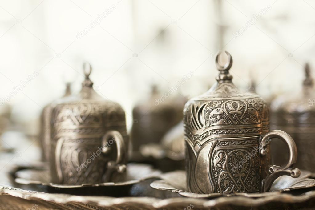traditional turkish coffee on table at cafe