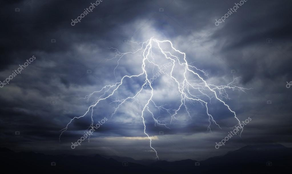 lightning strike on the cloudy sky
