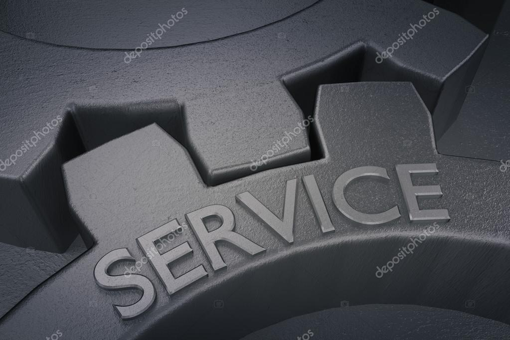 Service on the Metal Gears on Grey Background.