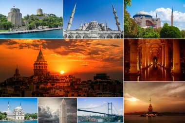 Collage Istanbul Historical landmarks, Turkey