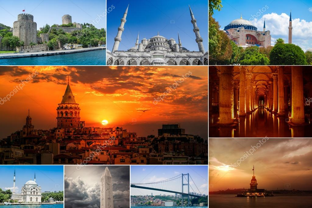 Collage Istanbul Historical landmarks, Turkey
