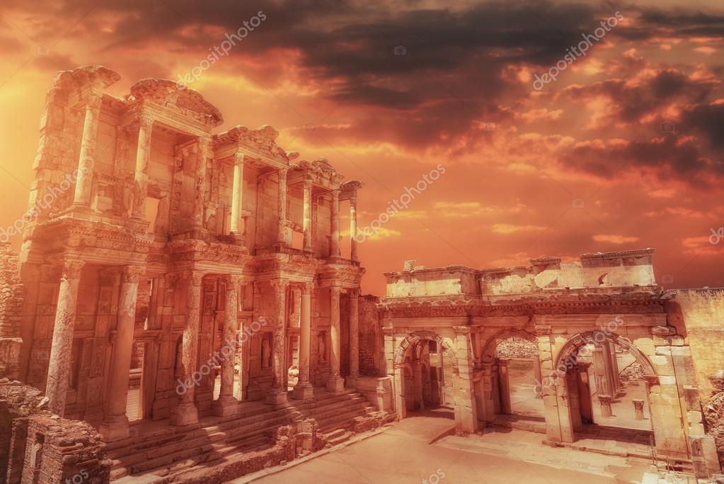 Celsus Library in Ephesus at sunset, Turkey