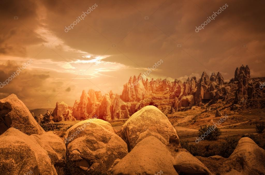 Cappadocia, Anatolia, Turkey. Volcanic mountains in Goreme national park.
