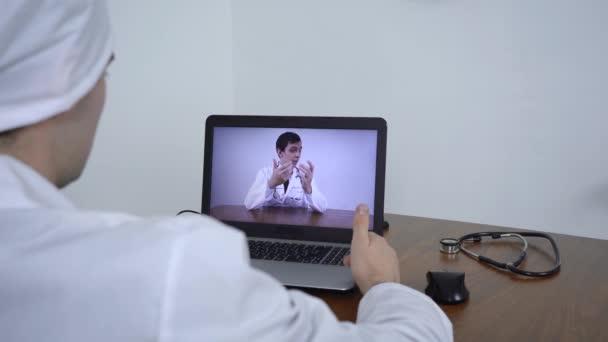 doctors are talking via video link