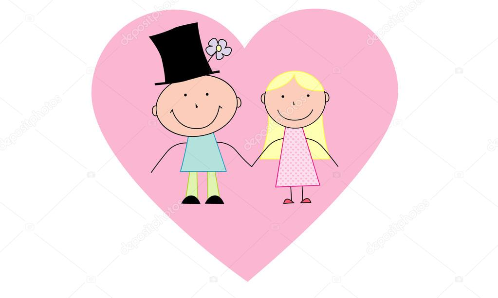 Cartoon Couple In Love In The Heart Of The West Stock Vector