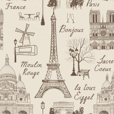 Travel Paris seamless pattern