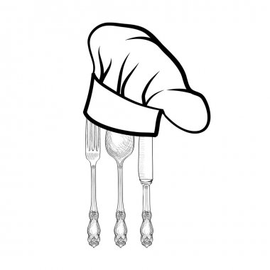 Chef cook hat with fork, spoon and knife