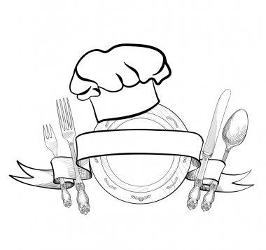 Chef cook hat with fork, spoon, knife and  plate